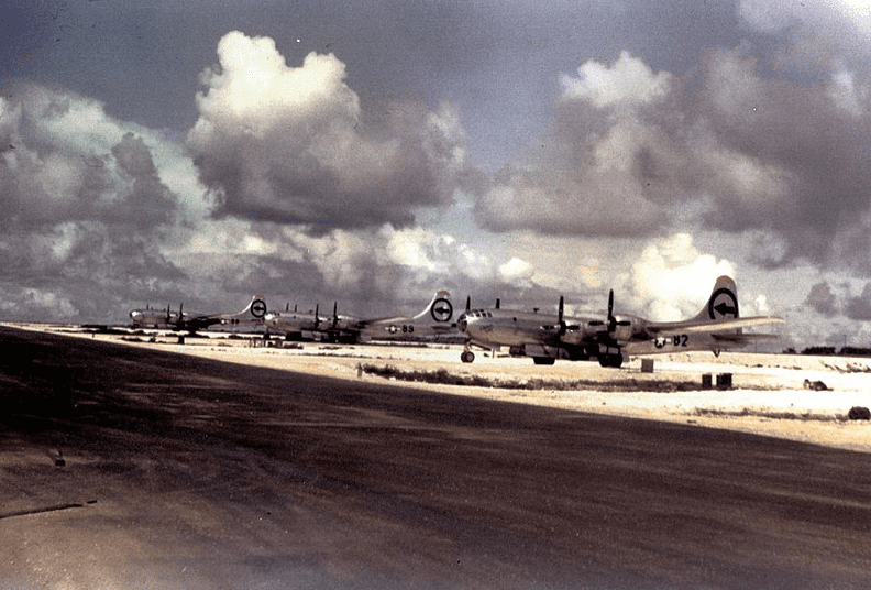 Photo: 509th Composite Group aircraft immediately before their bombing mission of Hiroshima, 6 August 1945
