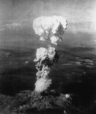 Photo: mushroom cloud after atomic bomb was dropped on Hiroshima, Japan, 6 August 1945