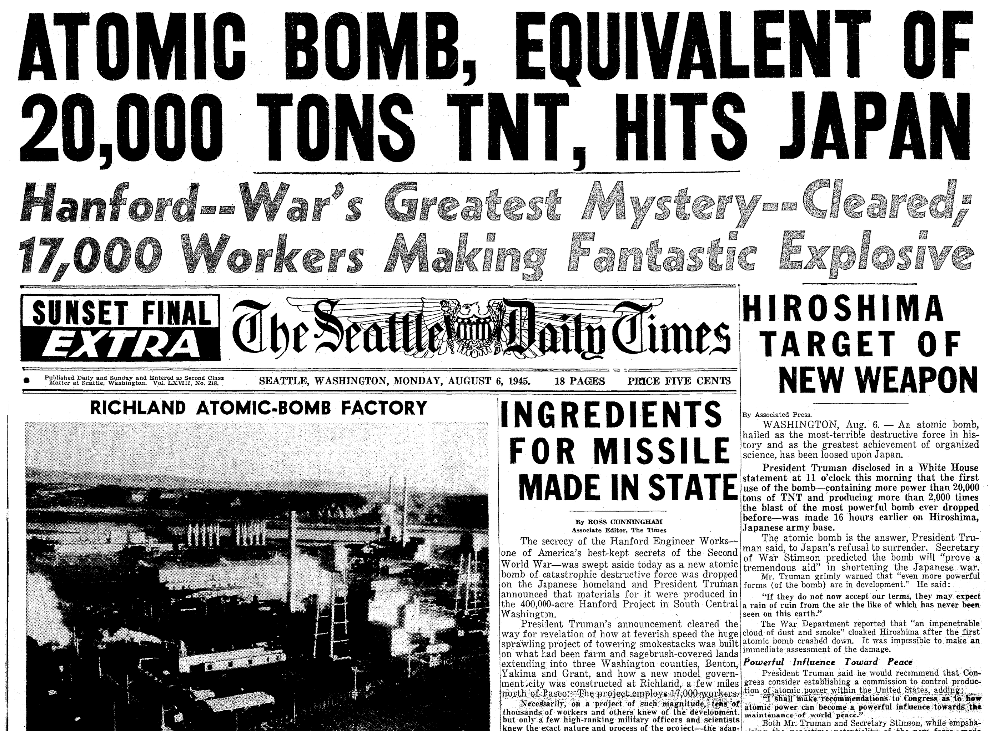 An article about the atomic bombing of Hiroshima, Japan, during WWII, Seattle Daily Times newspaper article 6 August 1945