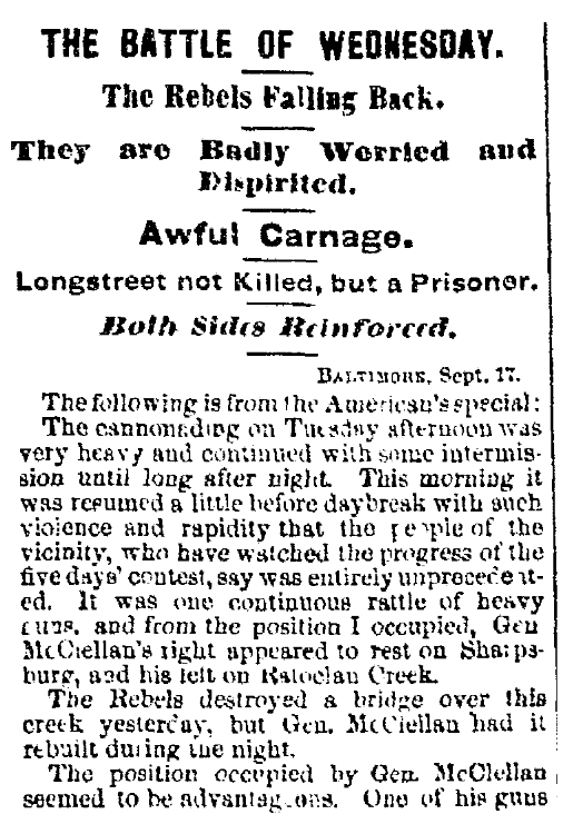 An article about the Civil War's Battle of Antietam, Albany Evening Journal newspaper article 18 September 1862