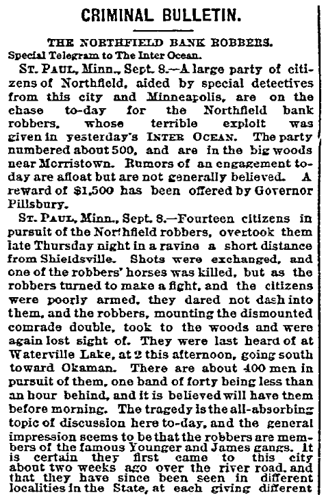 An article about the James-Younger Gang robbing the First National Bank in Northfield, Minnesota, Daily Inter Ocean newspaper article 9 September 1876