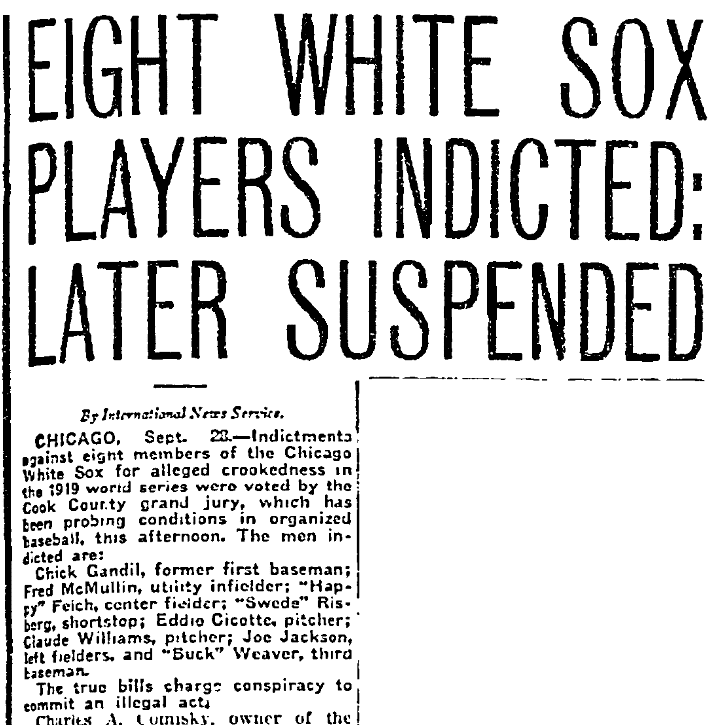An article about the 1919 World Series Chicago White Sox scandal, Fort Worth Star-Telegram newspaper article 28 September 1920