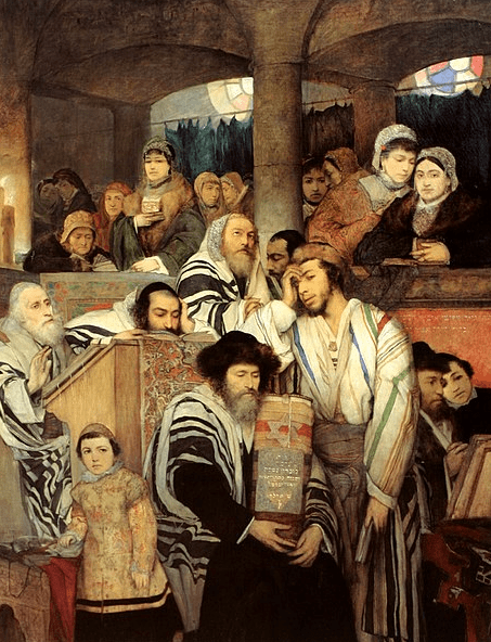 "Illustration: ""Jews Praying in the Synagogue on Yom Kippur"" by Maurycy Gottlieb, 1878"