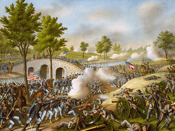 "Illustration: ""Battle of Antietam -- Army of the Potomac: Gen. Geo. B. McClellan, comm., Sept. 17, 1862. Credit: Kurz & Allison; Library of Congress, Prints and Photographs Division."