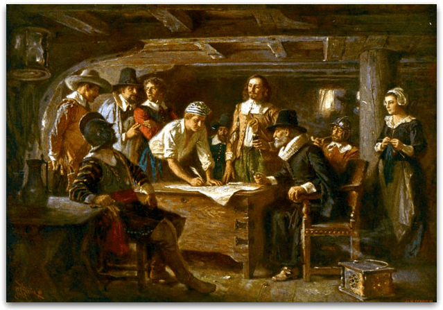 """Illustration: """"The Mayflower Compact, 1620,"""" by Jean Leon Gerome Ferris, 1899"""