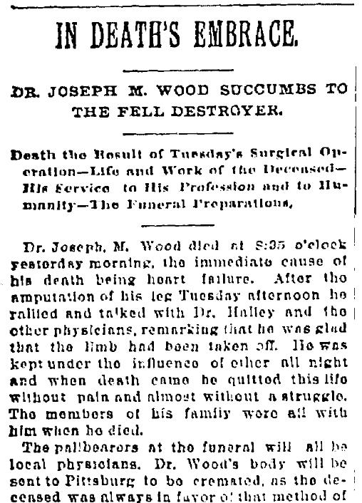 An obituary for Dr. Joseph Madison Wood, Kansas City Times newspaper article 20 September 1888