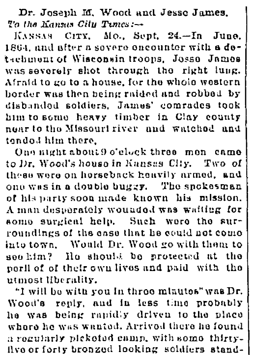 An article about Dr. Joseph Madison Wood and Jesse James, Kansas City Times newspaper article 25 September 1888
