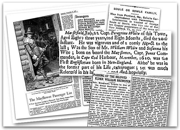 A montage of newspaper articles about descendants of the Mayflower passengers, from GenealogyBank