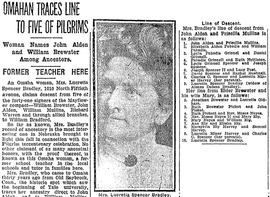 An article about Lucretia Bradley, Omaha World-Herald newspaper article 18 September 1920