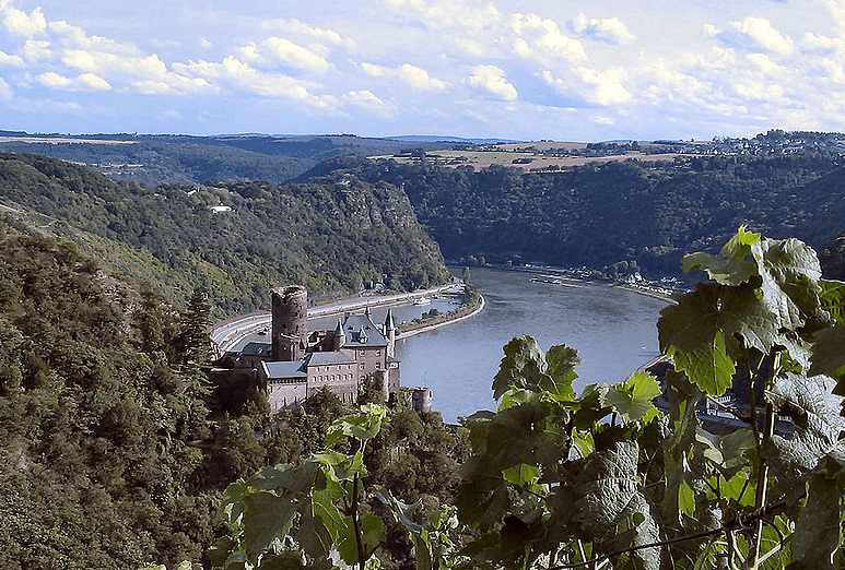 Photo: view from Patersberg of the castle Burg Katz and part of the Upper Middle Rhine Valley, Germany