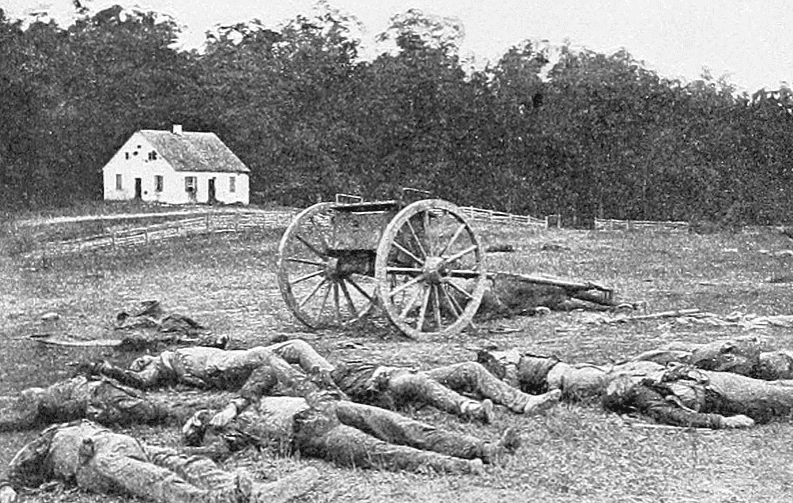 Photo: the Dunker Church after 17 September 1862, Battle of Antietam. Here, both Union and Confederate dead lie together on the field.