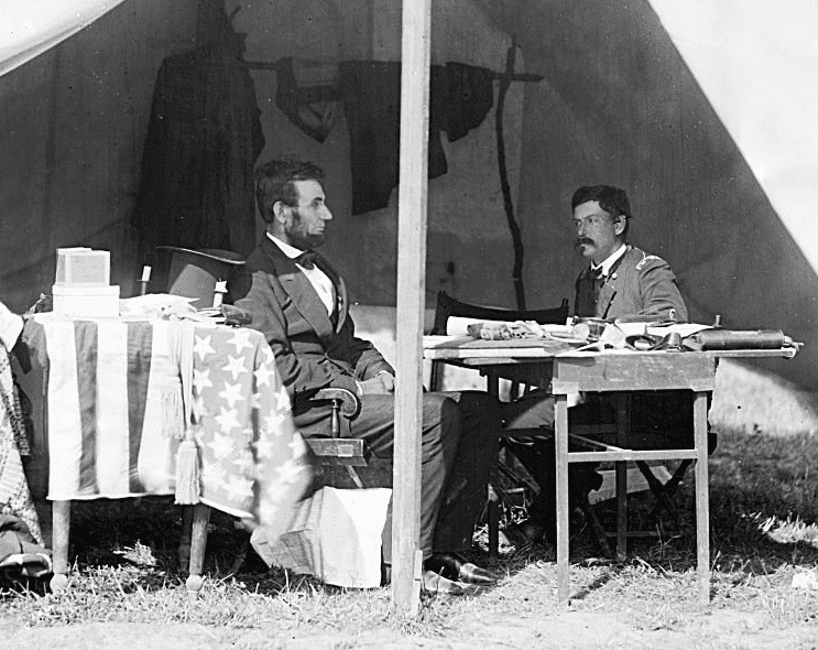 Photo: President Abraham Lincoln and General George B. McClellan in the general's tent near the Antietam battlefield, Maryland, 3 October 1862