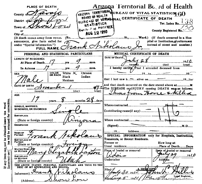 Photo: death certificate for Frank Nikolaus, Jr