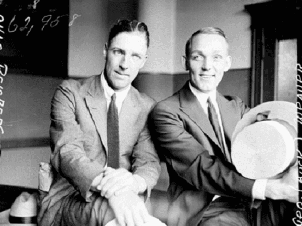"Photo: Chicago ""Black Sox"" Swede Risberg and Buck Weaver at the time of their 1921 trial. Credit: Chicago Historical Society; Wikimedia Commons."