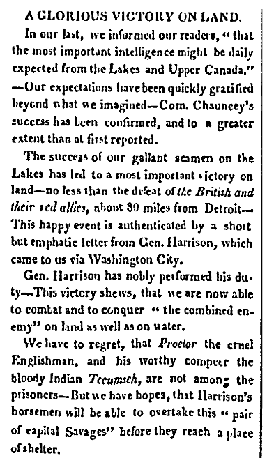 An article about the Battle of the Thames during the War of 1812, American and Commercial Daily Advertiser newspaper article 18 October 1813