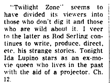 "An article about Rod Serling and ""The Twilight Zone,"" Augusta Chronicle newspaper article 23 October 1959"