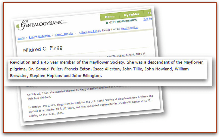An obituary for Mildred Flagg, Bangor Daily News newspaper article 8 June 2015
