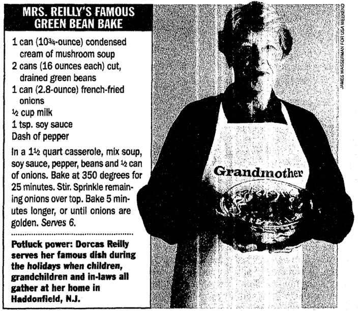 An article about green bean casserole, Bellingham Herald newspaper article 10 November 1996