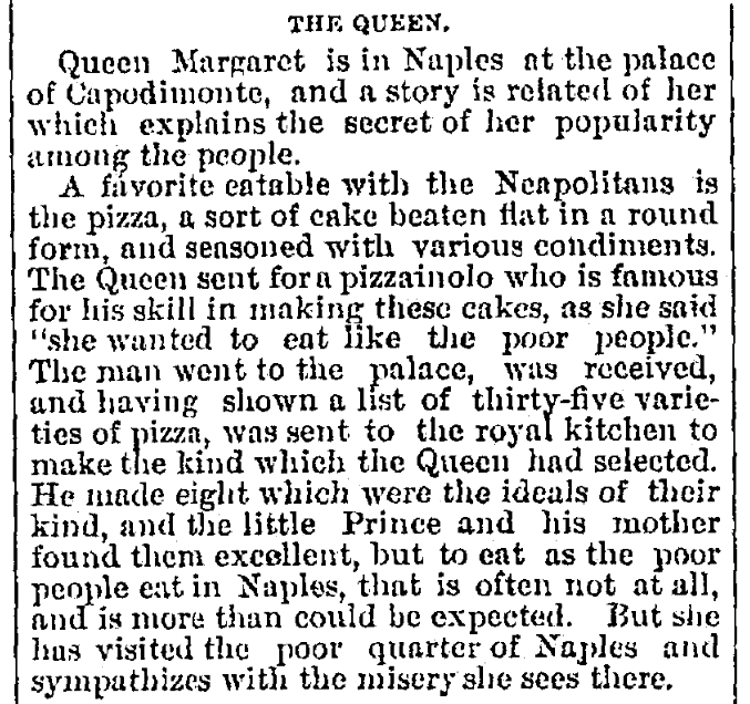 An article about pizza, Cincinnati Daily Gazette newspaper article 17 July 1880