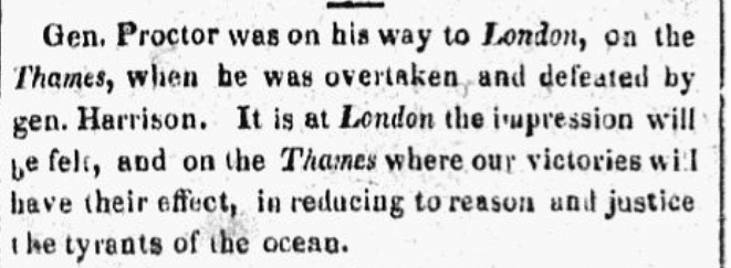 An article about the Battle of the Thames during the War of 1812, Columbian newspaper article 19 October 1813