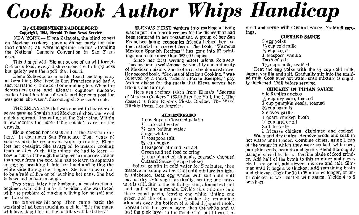 Recipes, Corpus Christi Caller-Times newspaper article 14 February 1965