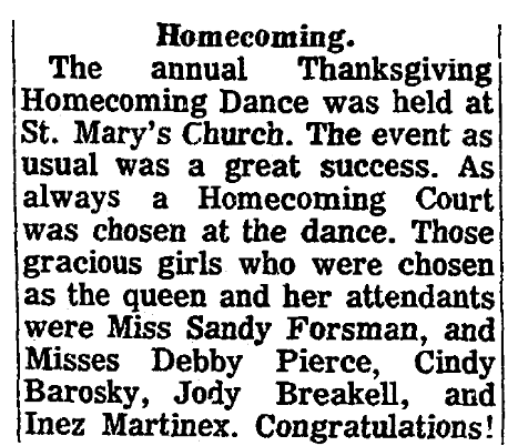 An article about homecoming, Daily Advocate newspaper article 9 December 1970