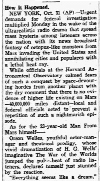 "An article about Orson Welles' ""War of the Worlds"" radio broadcast, Dallas Morning News newspaper article 1 November 1938"