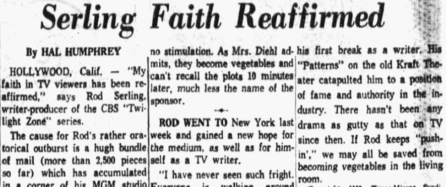 "An article about Rod Serling and ""The Twilight Zone,"" Dallas Morning News newspaper article 15 December 1959"