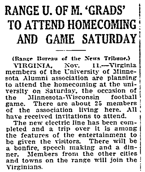 An article about homecoming, Duluth News-Tribune newspaper article 12 November 1914