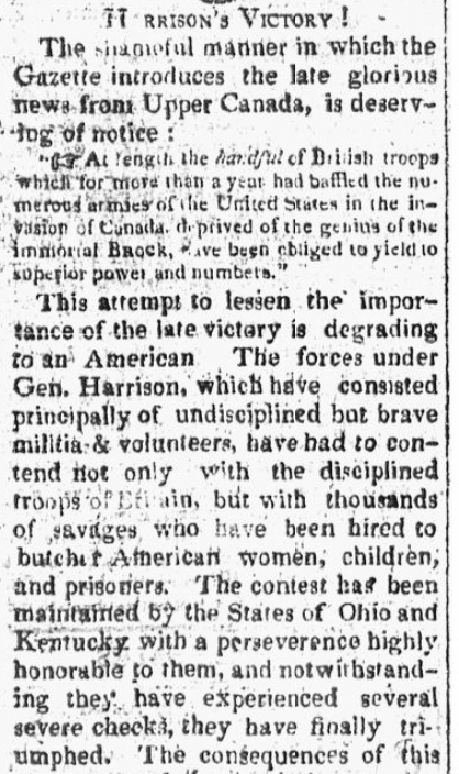 An article about the Battle of the Thames during the War of 1812, Essex Register newspaper article 23 October 1813