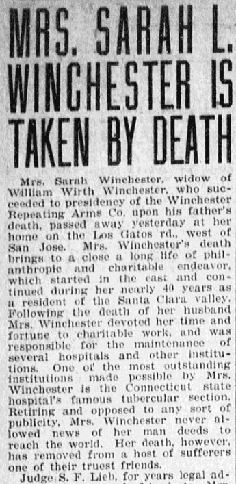 An obituary for Sarah Winchester, Evening News newspaper article 7 September 1922