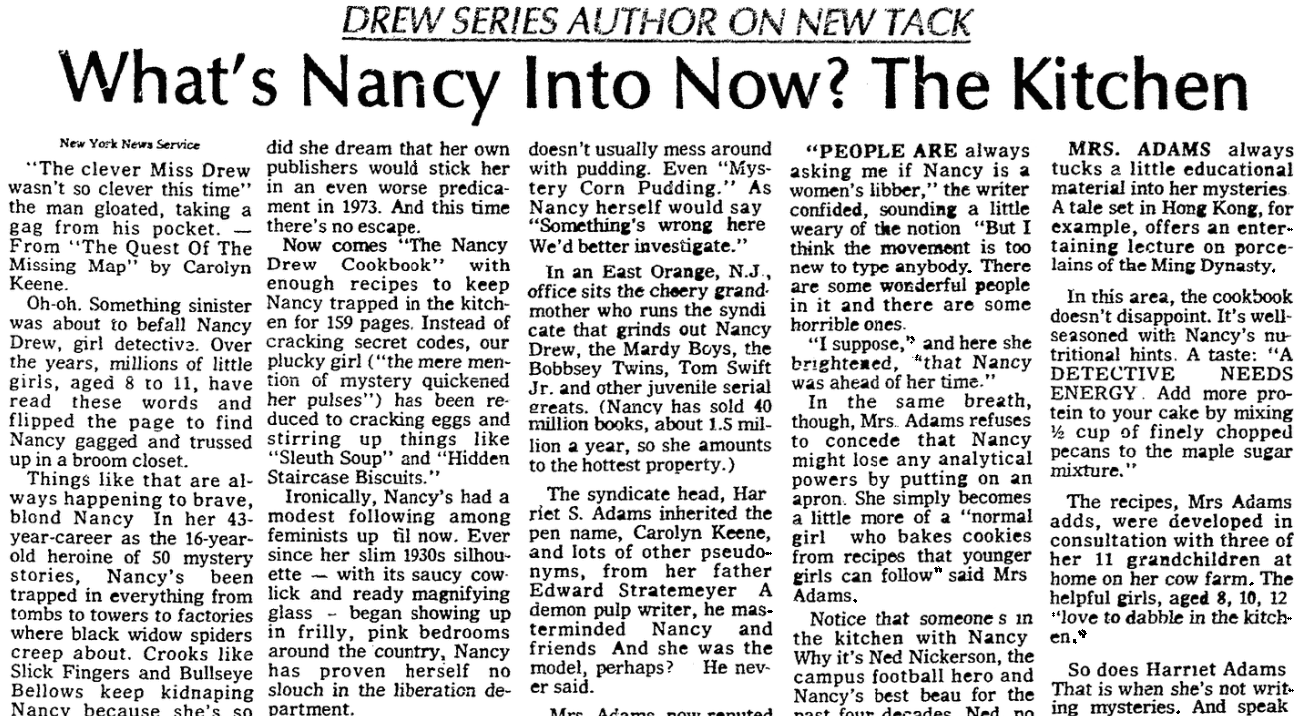An article about the Nancy Drew cookbook, Evening Star newspaper article 15 August 1973