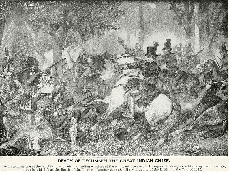 Illustration: Col. Richard Mentor Johnson shooting Tecumseh during the Battle of the Thames