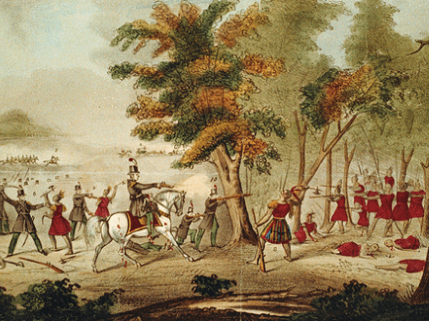 Illustration: Battle of the Thames and the death of Tecumseh, by the Kentucky mounted volunteers led by Colonel Richard M. Johnson, 5th October 1813. Credit: Library of Congress, Prints and Photographs Division.
