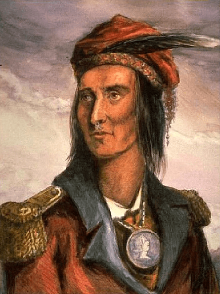 Illustration: Shawnee chief Tecumseh, an engraving by Benson John Lossing after a pencil sketch by French trader Pierre Le Dru at Vincennes, taken from life about 1808