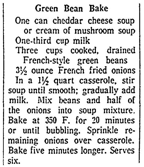 A recipe for green bean casserole, Jersey Journal newspaper article 15 January 1964