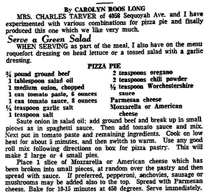 A pizza recipe, Knoxville News-Sentinel newspaper article 18 February 1960