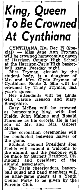 An article about homecoming, Lexington Leader newspaper article 18 December 1955