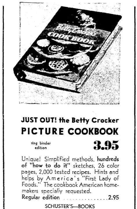An ad for the Betty Crocker cookbook, Milwaukee Journal Sentinel newspaper advertisement 7 September 1950