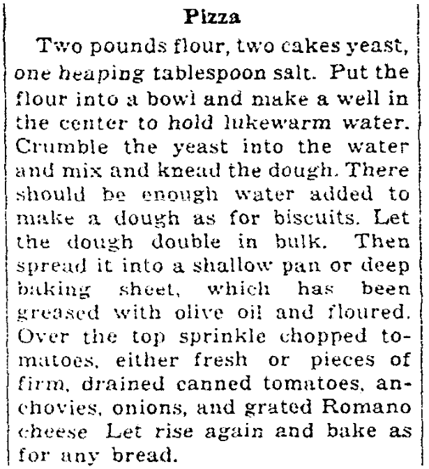 A pizza recipe, Milwaukee Journal Sentinel newspaper article 10 December 1937
