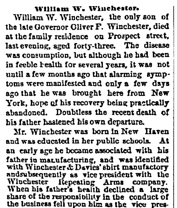 An obituary for William Winchester, New Haven Register newspaper article 8 March 1881