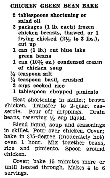 A recipe for green bean casserole, Newark Star-Ledger newspaper article 18 March 1964