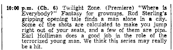 "An article about Rod Serling and ""The Twilight Zone,"" Oregonian newspaper article 2 October 1959"