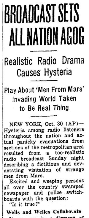 "An article about Orson Welles' ""War of the Worlds"" radio broadcast, Oregonian newspaper article 31 October 1938"