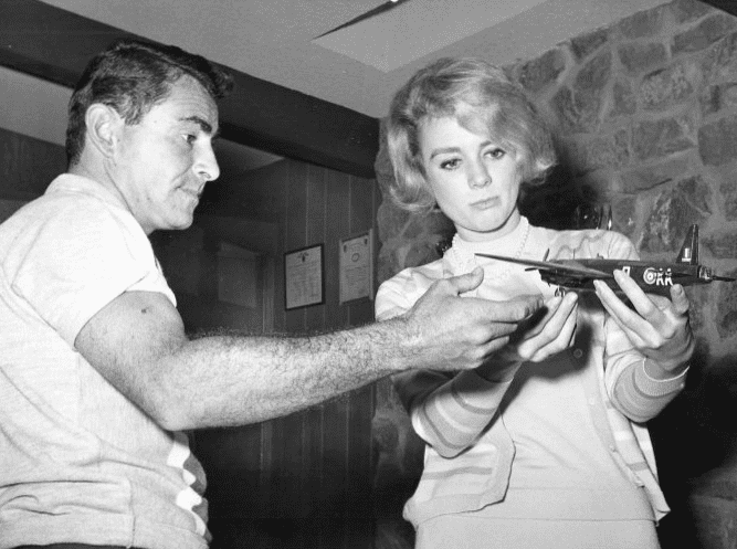 Photo: Rod Serling and actress Inger Stevens with Serling's model airplane collection at his home, 5 January 1960