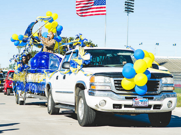 Photo: Homecoming parade at Texas A&M University, 2 November 2013. Credit: Texas A&M University-Commerce Marketing Communications Photography; Wikimedia Commons.