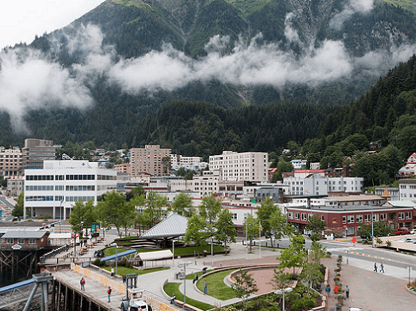 Photo: downtown Juneau, Alaska, with Mount Juneau rising in the background. Credit: Alan Wu; Wikimedia Commons.