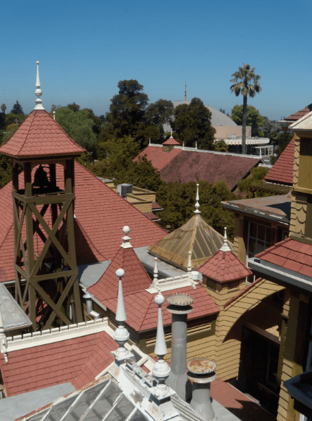 Photo: roof of the Winchester Mystery House