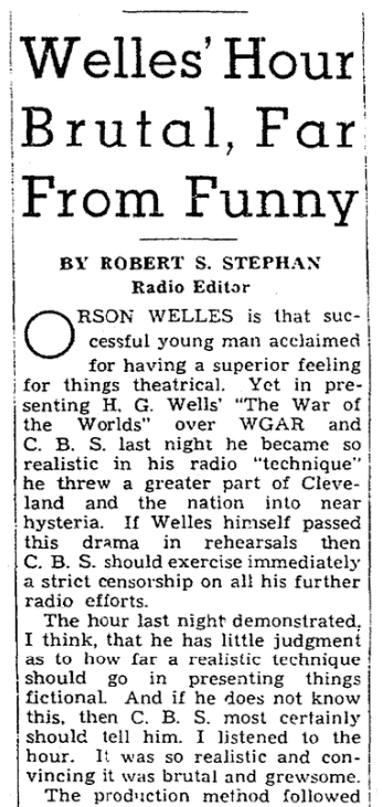 "An article about Orson Welles' ""War of the Worlds"" radio broadcast, Plain Dealer newspaper article 31 October 1938"