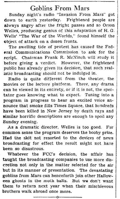 "An article about Orson Welles' ""War of the Worlds"" radio broadcast, Plain Dealer newspaper article 1 November 1938"